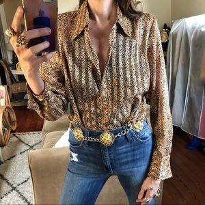Vintage semi sheer leopard blouse
